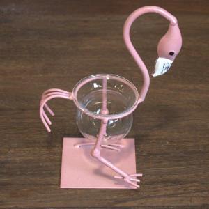 Hydroponischer Blumentopf - Rosa Metall Flamingo 1
