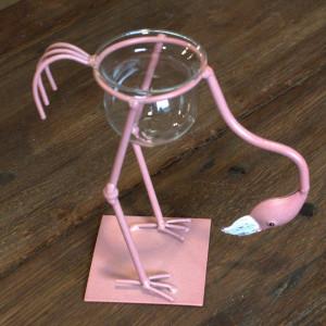 Hydroponischer Blumentopf - Rosa Metall Flamingo 3
