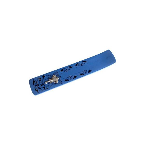 Holz Räucherstäbchenhalter breit, Kobaltblau mit Ganesh