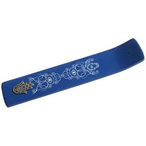 Holz Räucherstäbchenhalter breit, Kobaltblau...