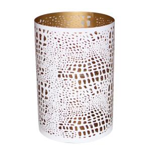 Windlicht BELLARY weiß/gold, H: 20 cm, Ø...