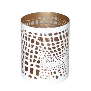 Windlicht BELLARY weiß/gold, H: 10 cm, Ø 8 cm