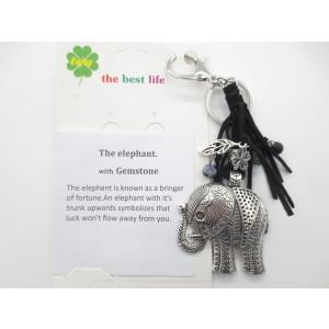 Silberner Elefant mit schwarz Schlüsselring