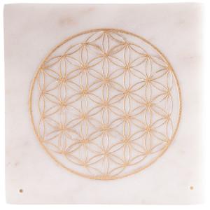 Marmorhalter mit goldener Blume des Lebens,...