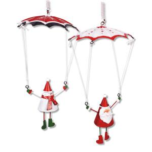 Fallschirm mit Weihnachtsmann und Schneemann