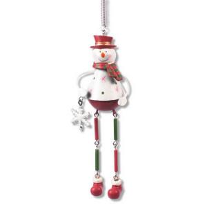 Schwingfigur Schneemann aus Metall, 15cm