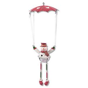 Schwingfigur Fallschirm mit Schneemann, 25cm