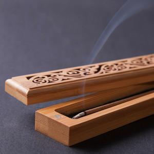 Bambus-Räucherstäbchenhalter aus Holz reich...