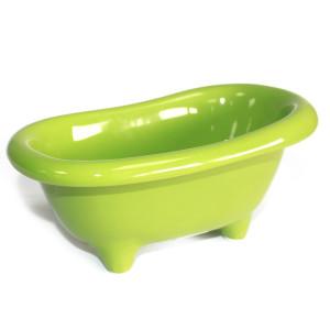 Kleine Keramikbadewanne - hellgrün mit...