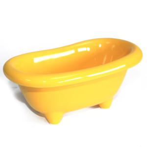 Kleine Keramikbadewanne - gelb mit süßen...