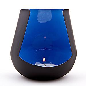 SALEM - Windlicht schwarz/blau emailliert, H: 11,5 cm,...