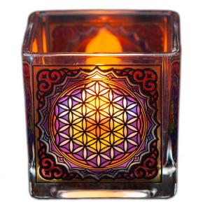 Teelichtglas Blume des Lebens