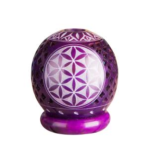 Blume des Lebens Teelichtkugel, lila