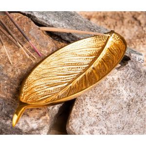 Räucherstäbchenhalter Blatt, vergoldet