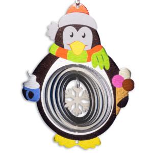 Edelstahl lackiert Windspiel Pinguin 180 Wintertraum bunt