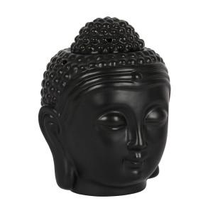 Schwarze Buddha-Kopf Keramik Duftlampe