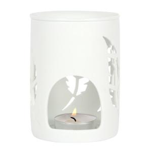 Weiße Feder, Matt-Weiße Keramik Duftlampe