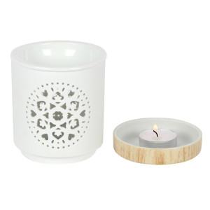 Mandala, Matt-Weiße Keramik Duftlampe