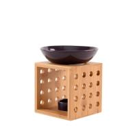 Duftlampe TALIN aubergine FAIR TRADE - Holz/Keramik Duftlampe