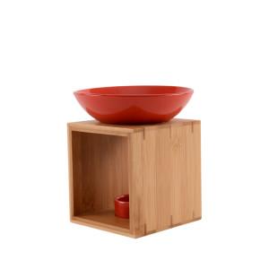 Duftlampe MALMÖ rot FAIR TRADE - Holz/Keramik Duftlampe