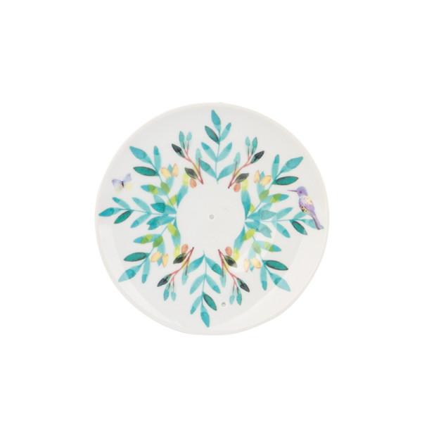 Räucherstäbchenhalter AQUARELLE in Tellerform aus Kunstporzellan