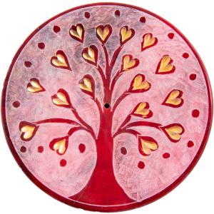 Lebensbaum Herzchen, rot Räucherstäbchenhalter